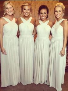 A-Line Cross Neck Floor-Length Pleated Ivory Chiffon Bridesmaid Dress