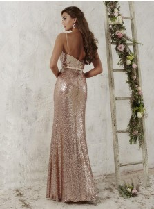 Trendy Spaghetti Straps Sheath Rose Gold Sequined Bridesmaid Dress with Sash