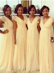 Elegant V-neck Sleeveless Sweep Train Light Yellow Bridesmaid Dress with Ruffles
