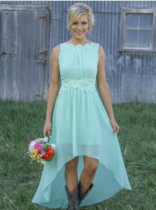 Delicate Bateau Sleeveless Asymmetry Mint/Peach Bridesmaid Dress with Appliques