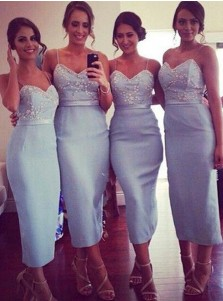 Trendy Spaghetti Straps Sheath Light Blue Bridesmaid Dress with Beading Sash