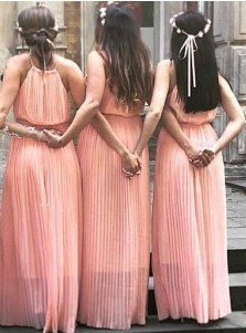 Simple Spaghetti Straps Sleeveless Floor-Length Pink Bridesmaid Dress Ruched