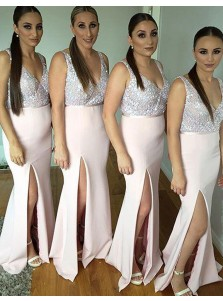 Generous V-Neck Sleeveless Sequins Split Front Mermaid Long Bridesmaid Dress