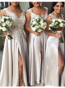 Hot Selling A-Line Scoop Sleeveless Split Front Appliques Long Bridesmaid Dress