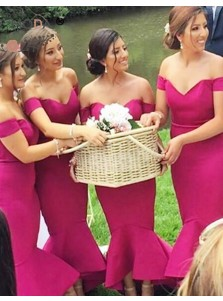 High Quality Off-the-Shoulder Sleeveless Ankle-Length Mermaid Bridesmaid Dress