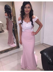 Elegant Off Shoulder Short Sleeves Sweep Train Pink Mermaid Bridesmaid Dress with Lace Top