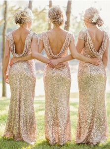Mermaid Bateau Cap Sleeves Champagne Sequined Bridesmaid Dress