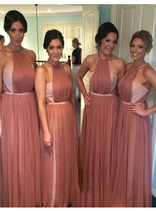Special Crew Neck Sleeveless Floor Length Ruched Blush Bridesmaid Dress with Sash