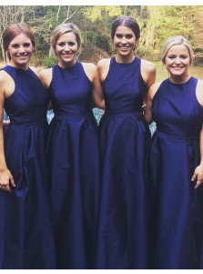 Simple Jewel Sleeveless Long Dark Blue Bridesmaid Dress with Sash Pleated