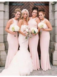 Decent Mermaid Jewel Sleeveless Floor Length Pearl Pink Bridesmaid Dress
