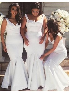 Generous Scoop Sleeveless Mermaid Floor Length White Bridesmaid Dress