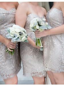 Sheath Sweetheart Short Silver Lace Bridesmaid Cocktail Dress
