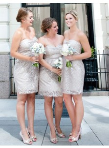 Sheath Sweetheart Short Silver Lace Bridesmaid Cocktail Dress