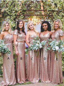 Rose Gold Sequined One-Shoulder Long Bridesmaid Dress with Ruched