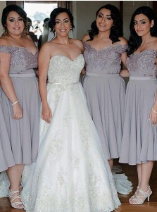 A-Line Off-the-Shoulder Grey Bridesmaid Dress with Beading Appliques