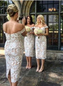 Sheath Off Shoulder Mid-Calf Ivory Lace Bridesmaid Dress