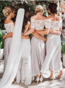 Two Piece Off-the-Shoulder Light Grey Bridesmaid Dress with Lace