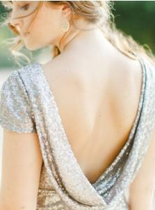 Sheath Bateau Sweep Train Backless Silver Sequined Bridesmaid Dress
