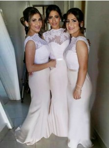 Mermaid Scalloped-Edge Sweep Train Light Pink Prom Dress with Lace