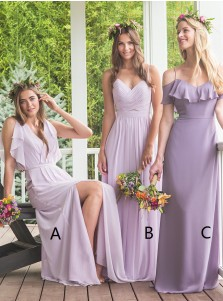 A-Line V-Neck Lavender Chiffon Bridesmaid Dress with Ruffles Split