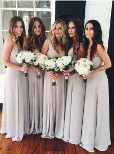 A-Line Scoop Floor-Length Light Gray Chiffon Bridesmaid Dress