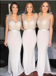 Mermaid V-Neck Sweep Train Light Grey Bridesmaid Dress with Sash