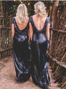 Sheath Bateau Cap Sleeves Backless Navy Blue Sequined Bridesmaid Dress