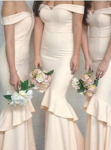 Mermaid Off-the-Shoulder Sweep Train Beige Bridesmaid Dress with Ruffles