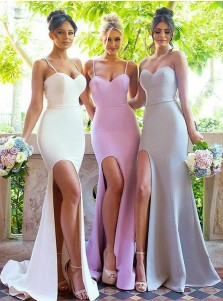 Mermaid Spaghetti Straps Sweep Train White Split Bridesmaid Dress