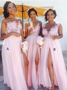 A-Line Bateau Cap Sleeves Pink Chiffon Appliques Bridesmaid Dress