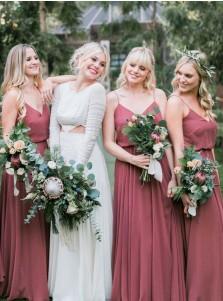 A-Line Spaghetti Straps Blush Pleated Chiffon Bridesmaid Dress