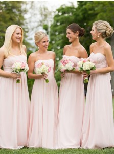 A-Line Strapless Floor-Length Pink Chiffon Bridesmaid Dress with Pleats