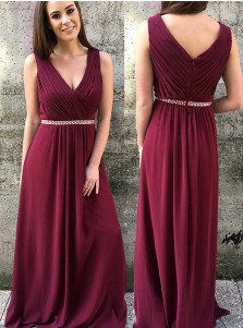 A-Line V-Neck Maroon Pleated Chiffon Bridesmaid Dress with Beading