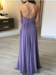 A-Line Spaghetti Straps Pleated Lavender Chiffon Bridesmaid Dress