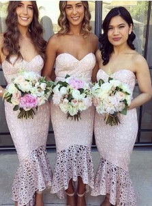 Mermaid Sweetheart High-Low Pink Lace Bridesmaid Dress