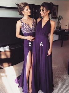 A-Line V-Neck Sleeveless Grape Chiffon Prom Dress with Split