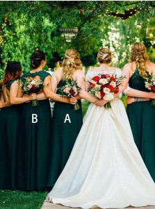 A-Line Spaghetti Straps Dark Green Chiffon Bridesmaid Dress with Lace