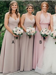 Mermaid Round Neck Pleated Blush Chiffon Bridesmaid Dress