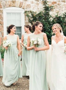 A-Line Bateau Pleated Mint Chiffon Bridesmaid Dress