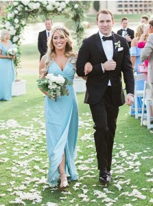 A-Line V-Neck Turquoise Elastic Satin Bridesmaid Dress with Split
