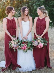 A-Line Round Neck Dark Red Chiffon Bridesmaid Dress with Sash