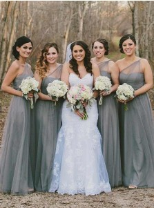 A-Line One-Shoulder Side Zipper Grey Tulle Bridesmaid Dress