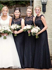 A-Line Round Neck Sleeveless Black Lace Bridesmaid Dress