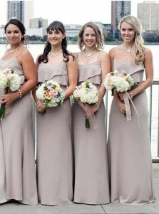 Mermaid Spaghetti Straps Grey Chiffon Bridesmaid Dress with Ruffles