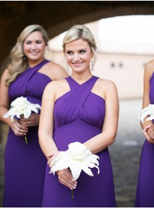 A-Line Cross Neck Sweep Train Grape Chiffon Bridesmaid Dress