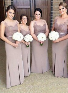 Sheath Bateau Blush Elastic Satin Bridesmaid Dress with Split Appliques