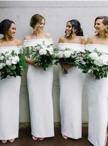 Sheath Off-the-Shoulder White Elastic Satin Bridesmaid Dress