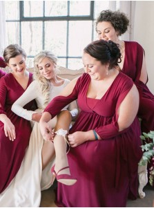 A-Line V-Neck Long Sleeves Red Chiffon Bridesmaid Dress with Sash