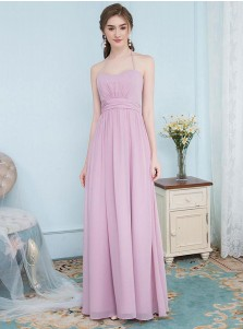 A-Line Halter Pleated Blush Chiffon Bridesmaid Dress