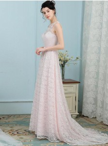 A-Line Round Neck Open Pink Pearl Pink Lace Bridesmaid Dress